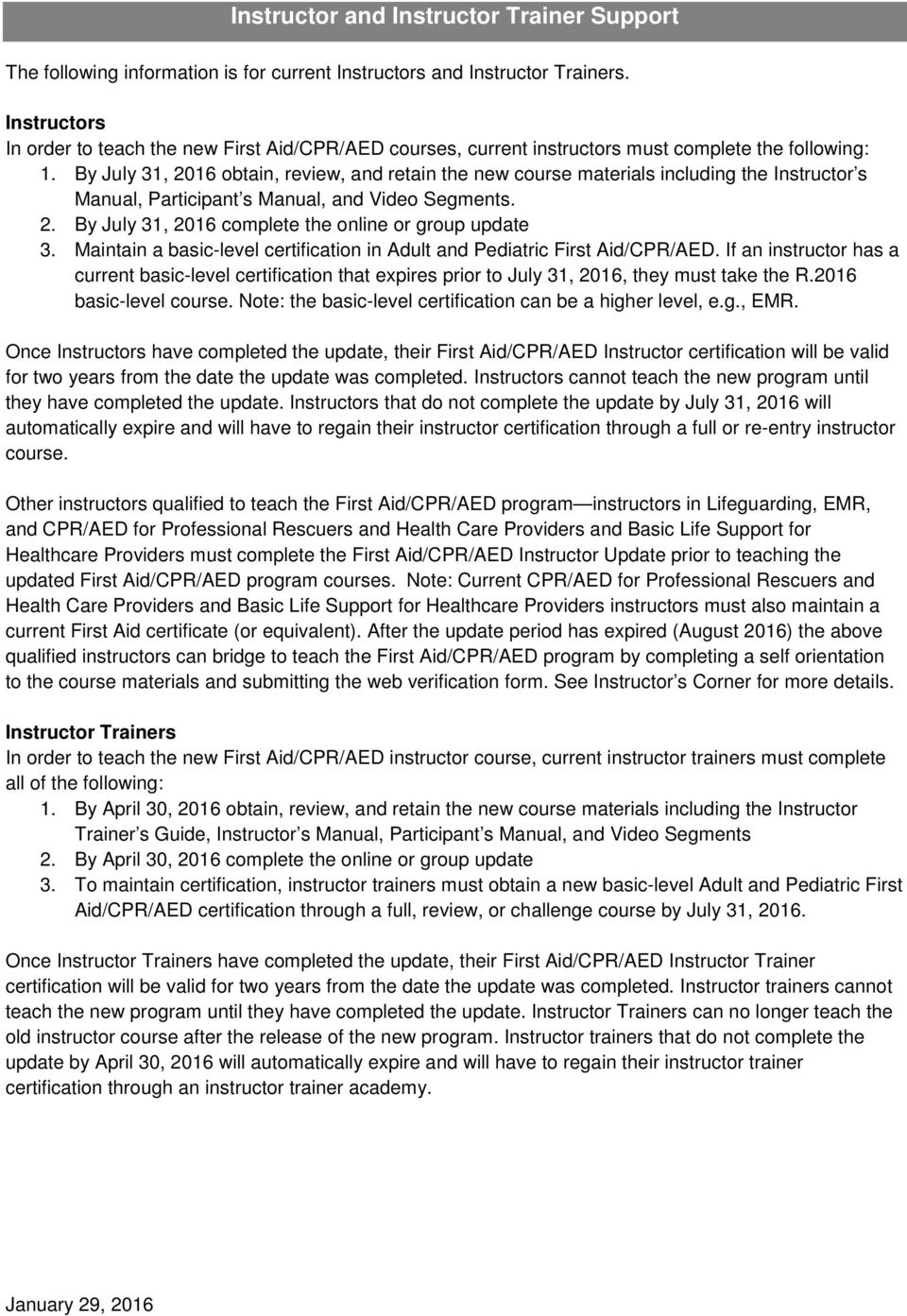Instructor Bulletin First Aidcpraed Program Pdf