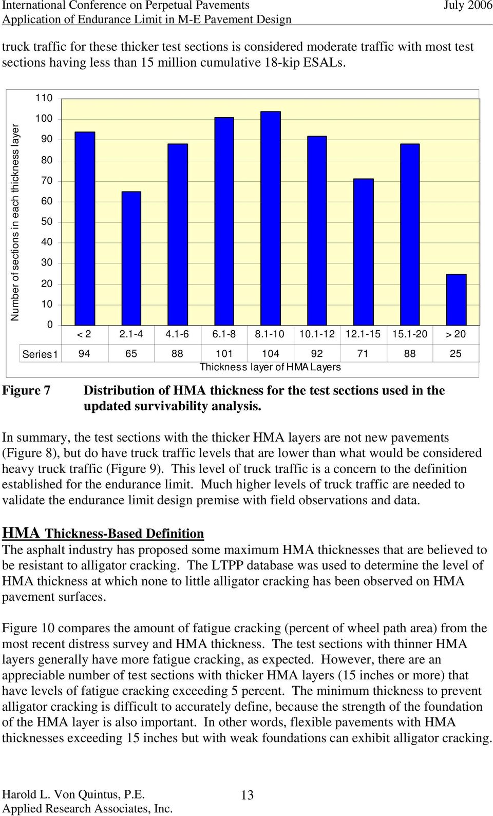 1-20 > 20 Distribution of HMA thickness for the test sections used in the updated survivability analysis.
