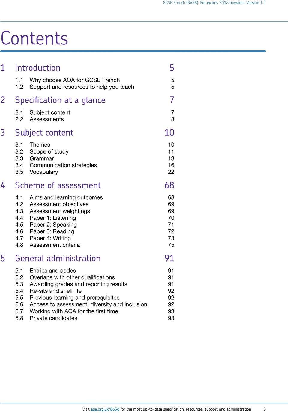 gcse french 8658 specification for teaching from