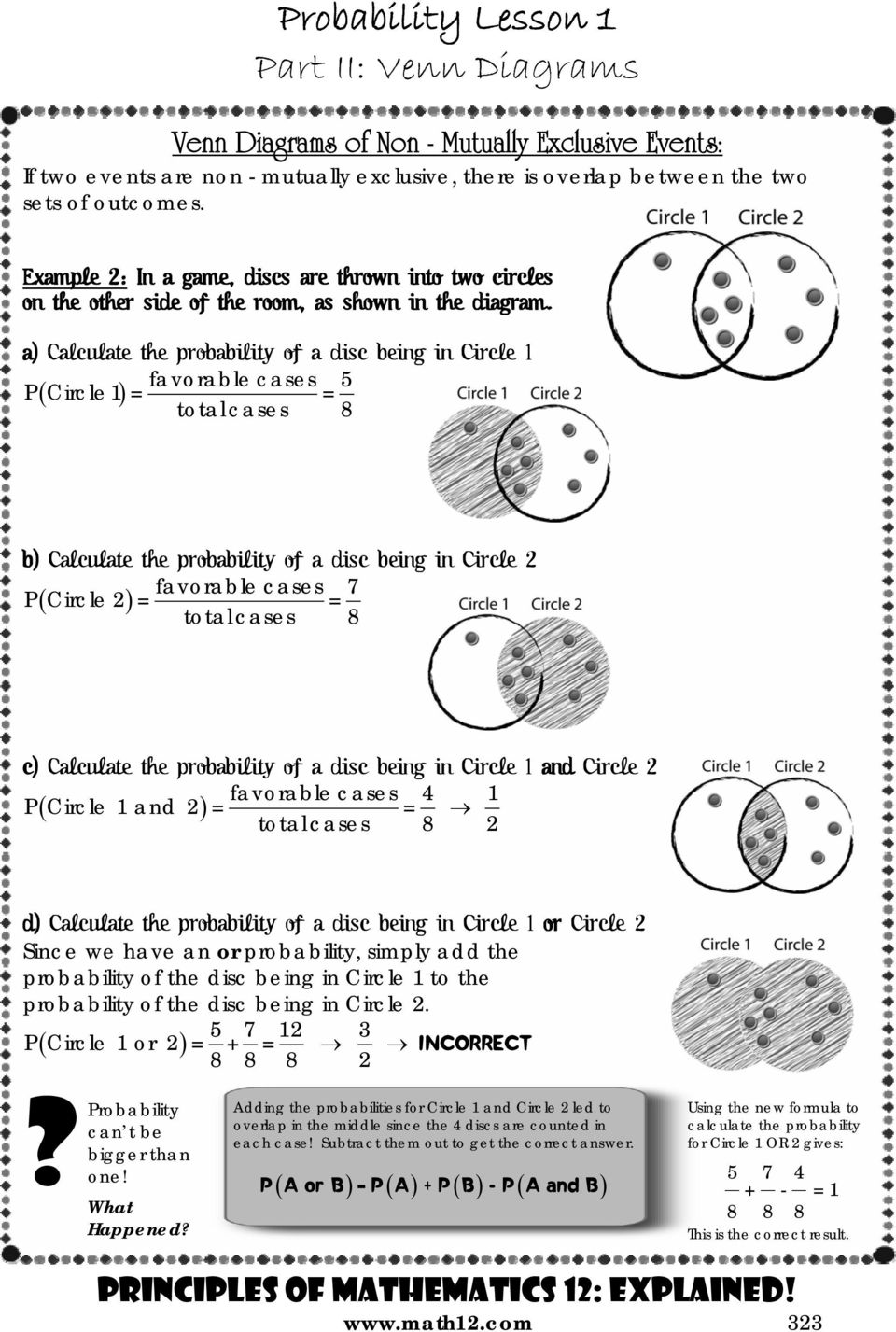 Lesson 1 basics of probability principles of mathematics 12 a calculate the probability of a disc being in circle 1 favorable cases 5 pcircle pooptronica