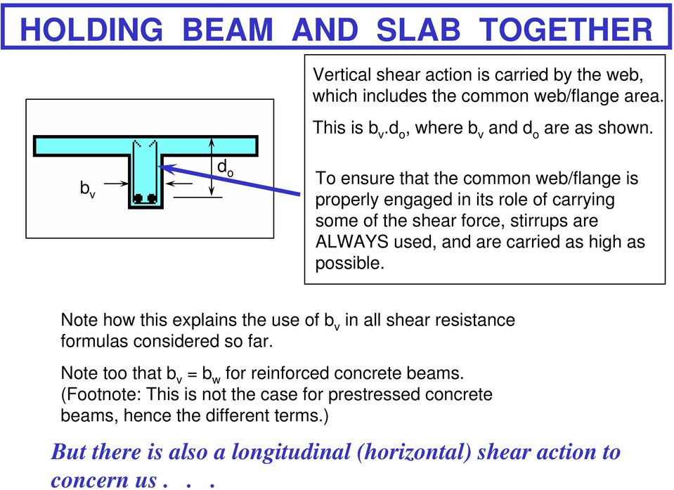 b v d o To ensure that the common web/flange is properly engaged in its role of carrying some of the shear force, stirrups are ALWAYS used, and are carried as high