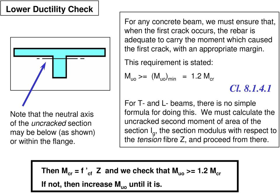 margin. This requirement is stated: M uo >= (M uo ) min = 1. M cr Cl. 8.1.4.1 For T- and L- beams, there is no simple formula for doing this.