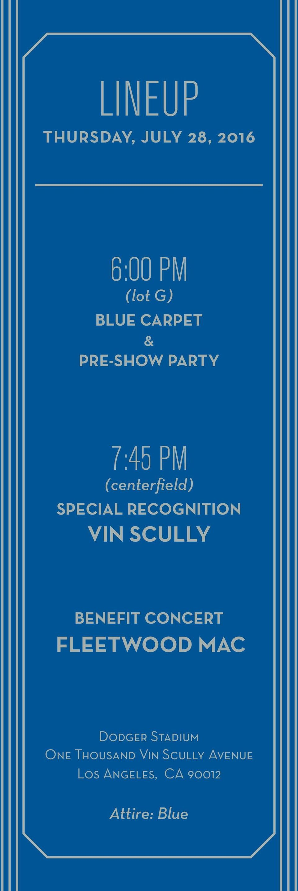 VIN SCULLY BENEFIT CONCERT FLEETWOOD MAC Dodger Stadium One