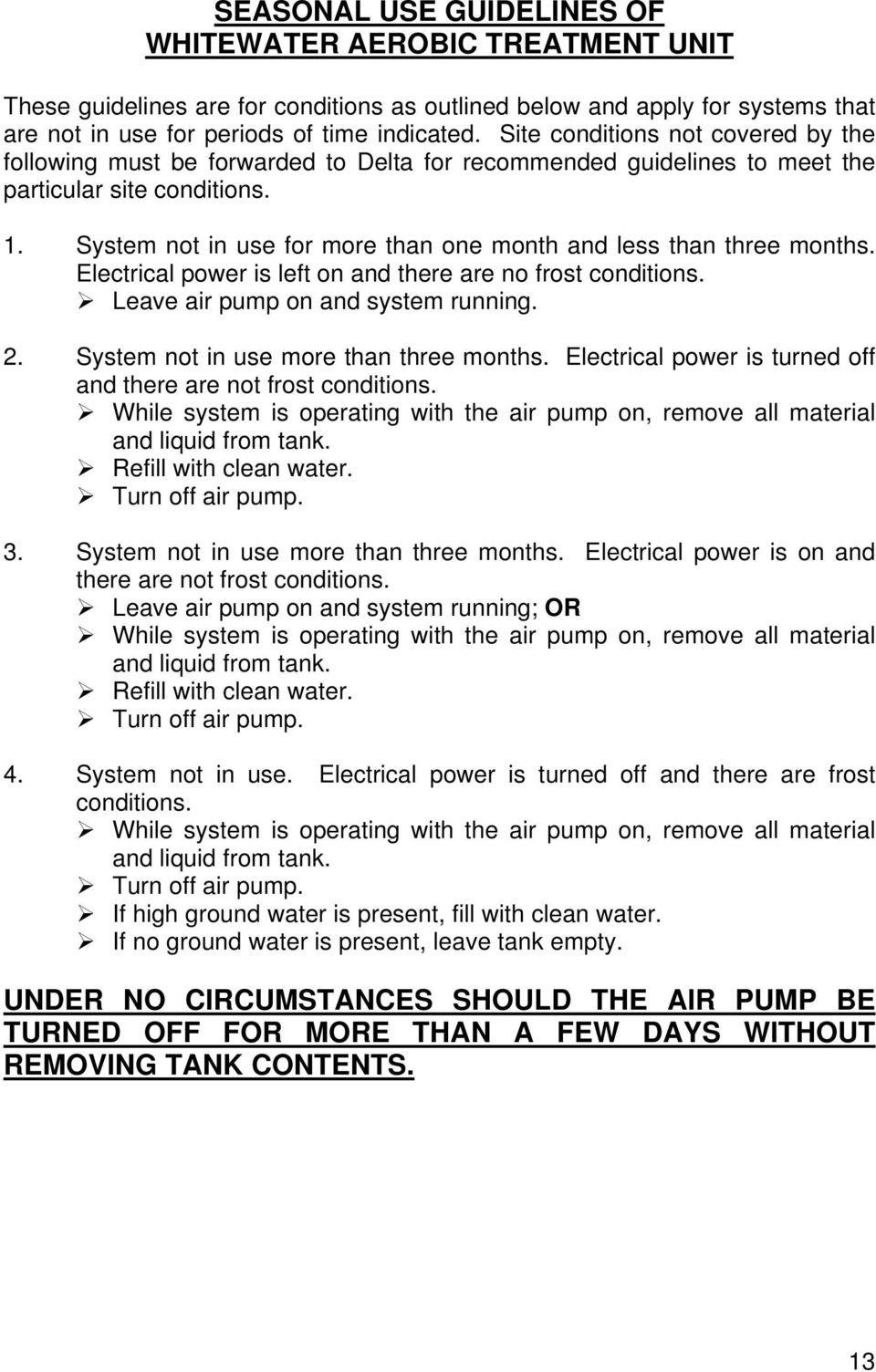 Whitewater Aerobic Treatment Unit Pdf Chicago Electric 45005 Wiring Diagram System Not In Use For More Than One Month And Less Three Months Electrical