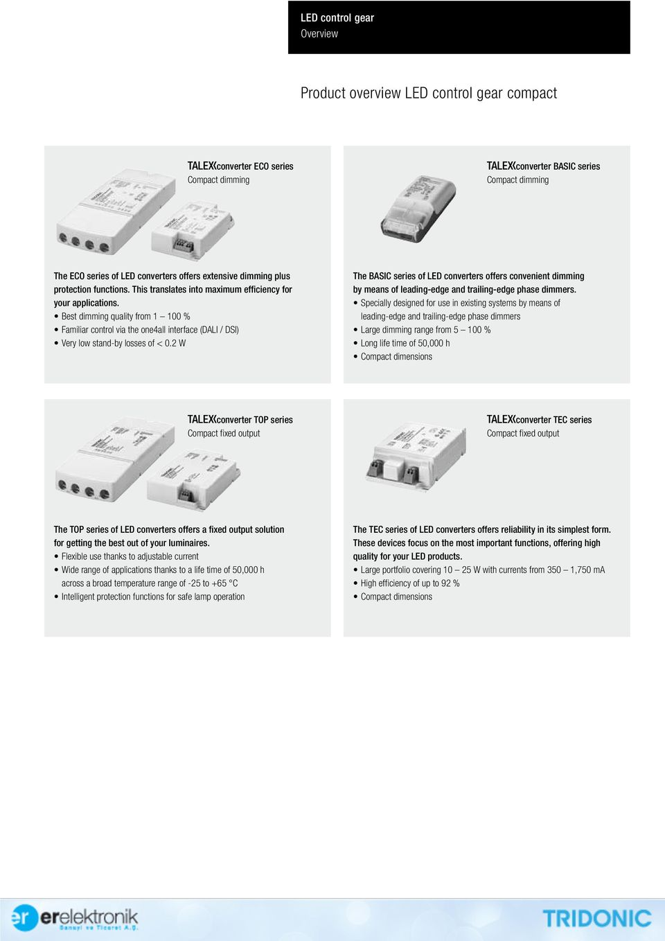 2 W The BASIC series of LED converters offers convenient dimming by means of leading-edge and trailing-edge phase dimmers.