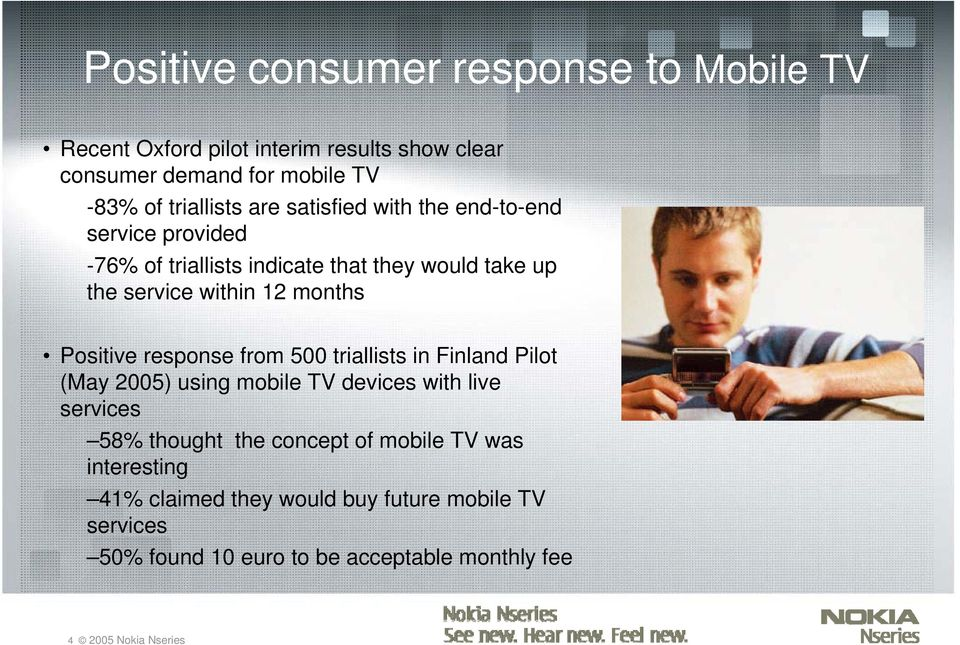 Positive response from 500 triallists in Finland Pilot (May 2005) using mobile TV devices with live services 58% thought the concept of