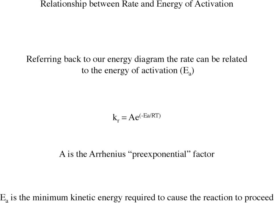 (E a ) k r = Ae (-Ea/RT) A is the Arrhenius preexponential factor E a