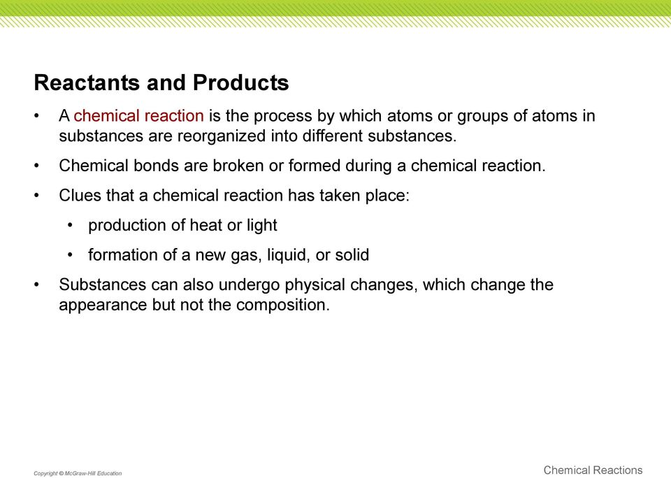 Clues that a chemical reaction has taken place: production of heat or light formation of a new gas,