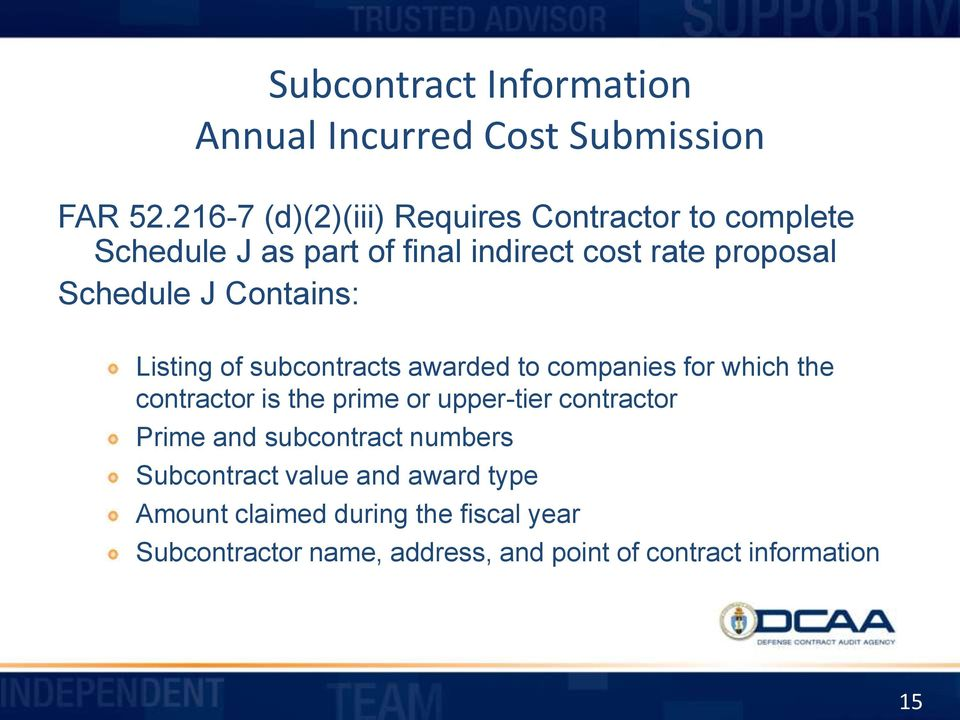 J Contains: Listing of subcontracts awarded to companies for which the contractor is the prime or upper-tier