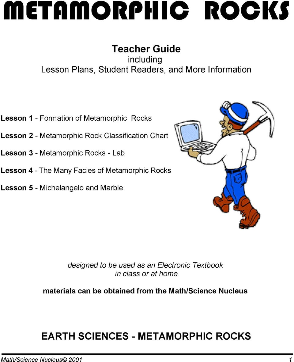 Facies of Metamorphic Rocks Lesson 5 - Michelangelo and Marble designed to be used as an Electronic Textbook in class or