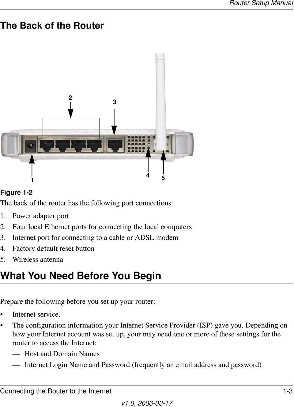 Wireless antenna What You Need Before You Begin Prepare the following before you set up your router: Internet service.