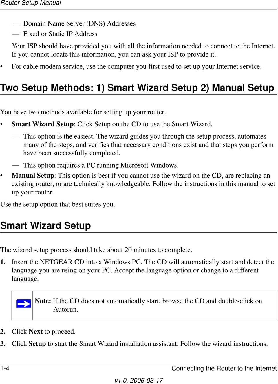 Two Setup Methods: 1) Smart Wizard Setup 2) Manual Setup You have two methods available for setting up your router. Smart Wizard Setup: Click Setup on the CD to use the Smart Wizard.
