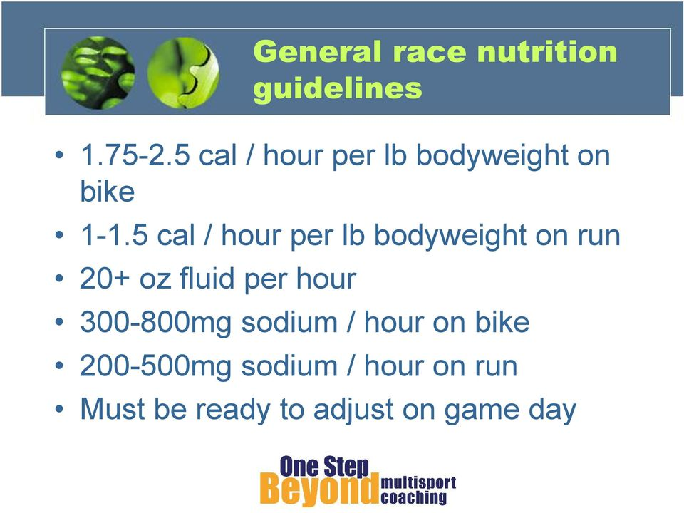 5 cal / hour per lb bodyweight on run 20+ oz fluid per hour