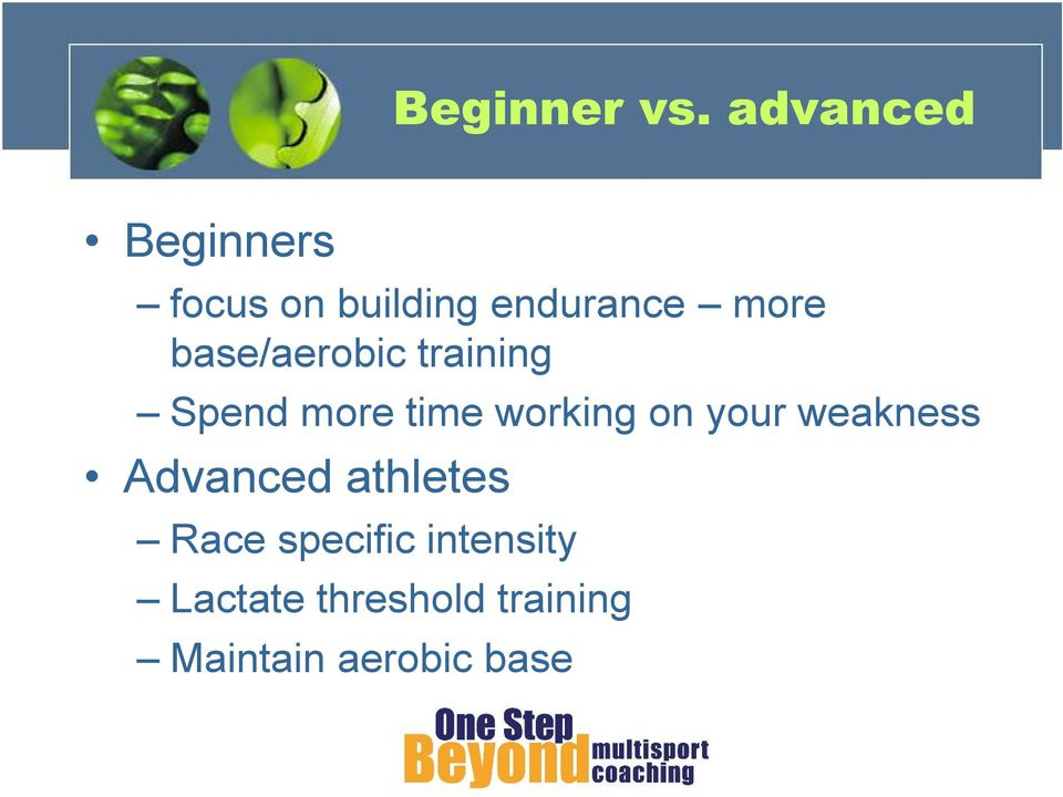 base/aerobic training Spend more time working on your