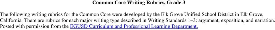 There are rubrics for each major writing type described in Writing Standards 1 3: argument,
