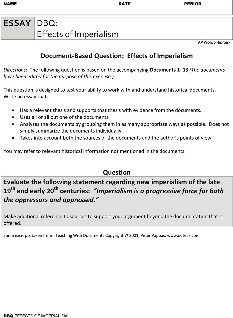 essay dbq effects of imperialism ap world history pdf write an essay that has a relevant thesis and supports that thesis evidence from