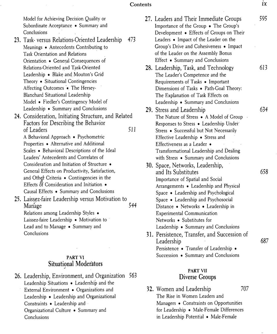 Blake and. Mouton's Grid Theory Situational Contingencies Affecting Outcomes The Hersey- Blanchard Situational Leadership Model Fiedler's Contingency Model of Leadership Summary and 24.