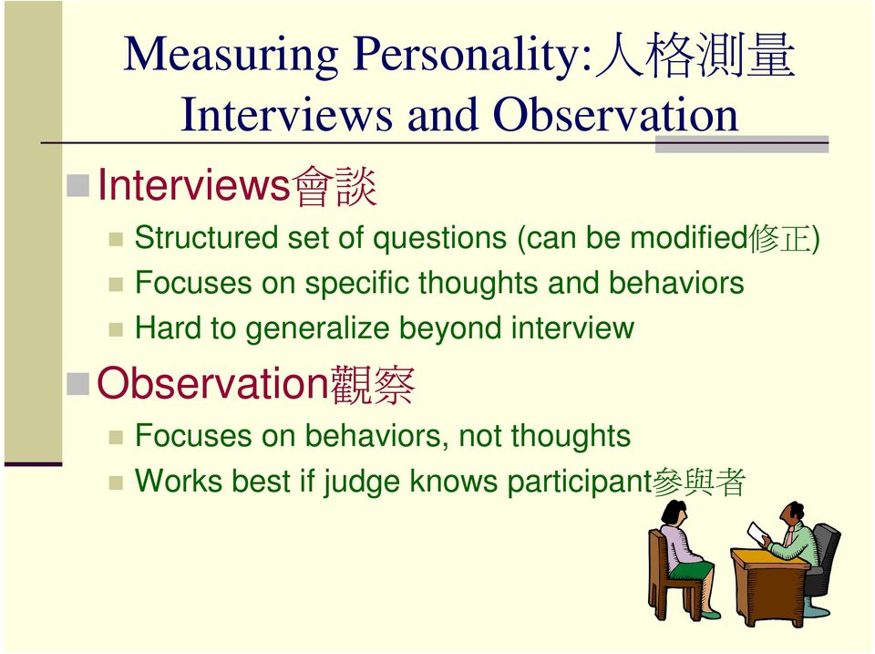 thoughts and behaviors Hard to generalize beyond interview