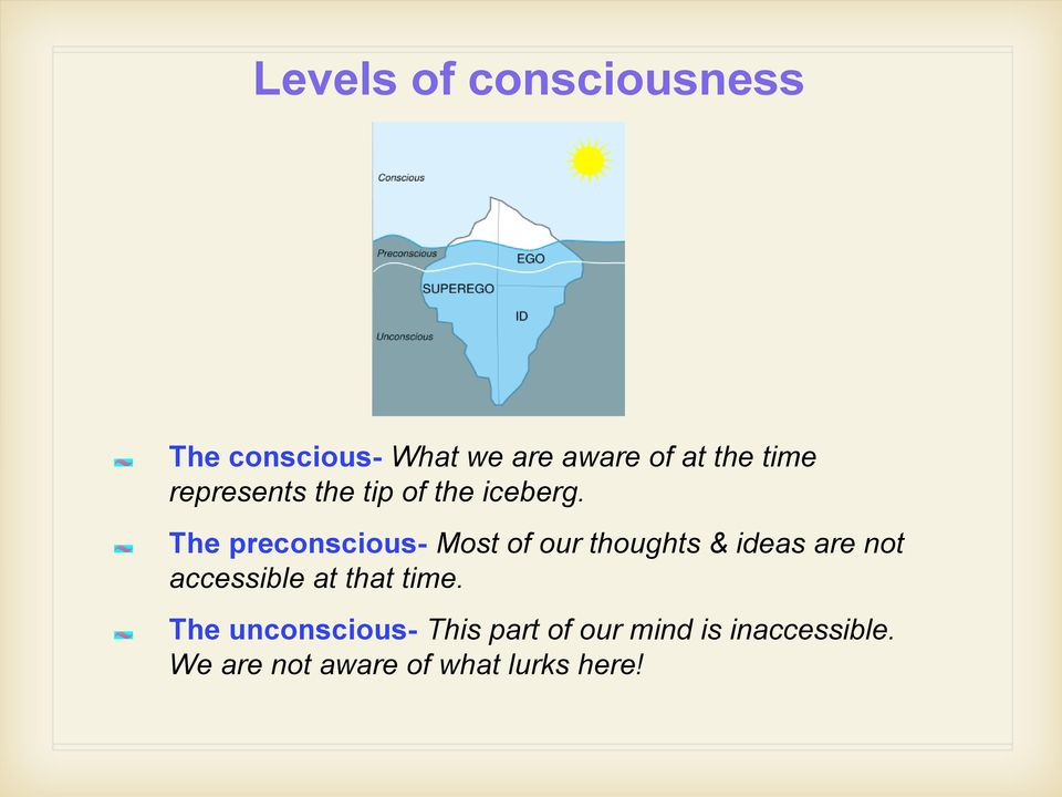 The preconscious- Most of our thoughts & ideas are not accessible at