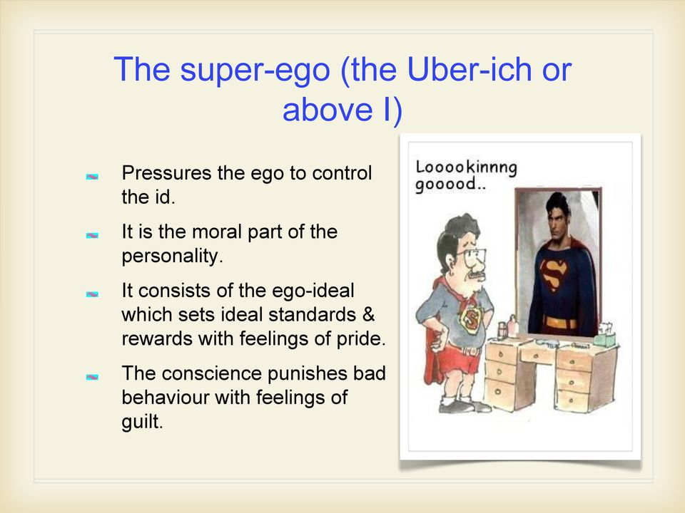 It consists of the ego-ideal which sets ideal standards & rewards