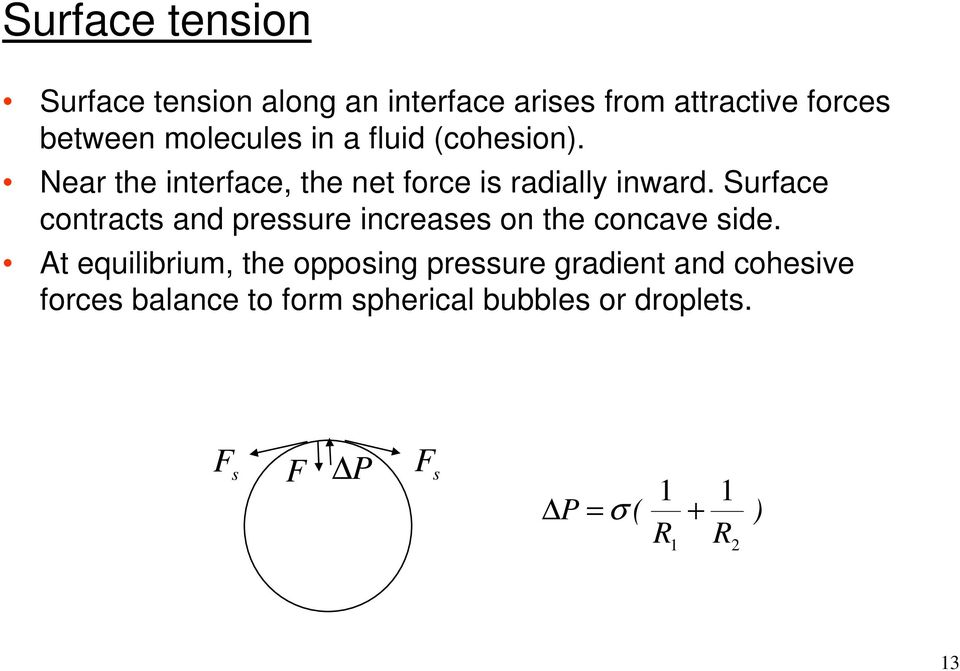 Surface contracts and pressure increases on the concave side.