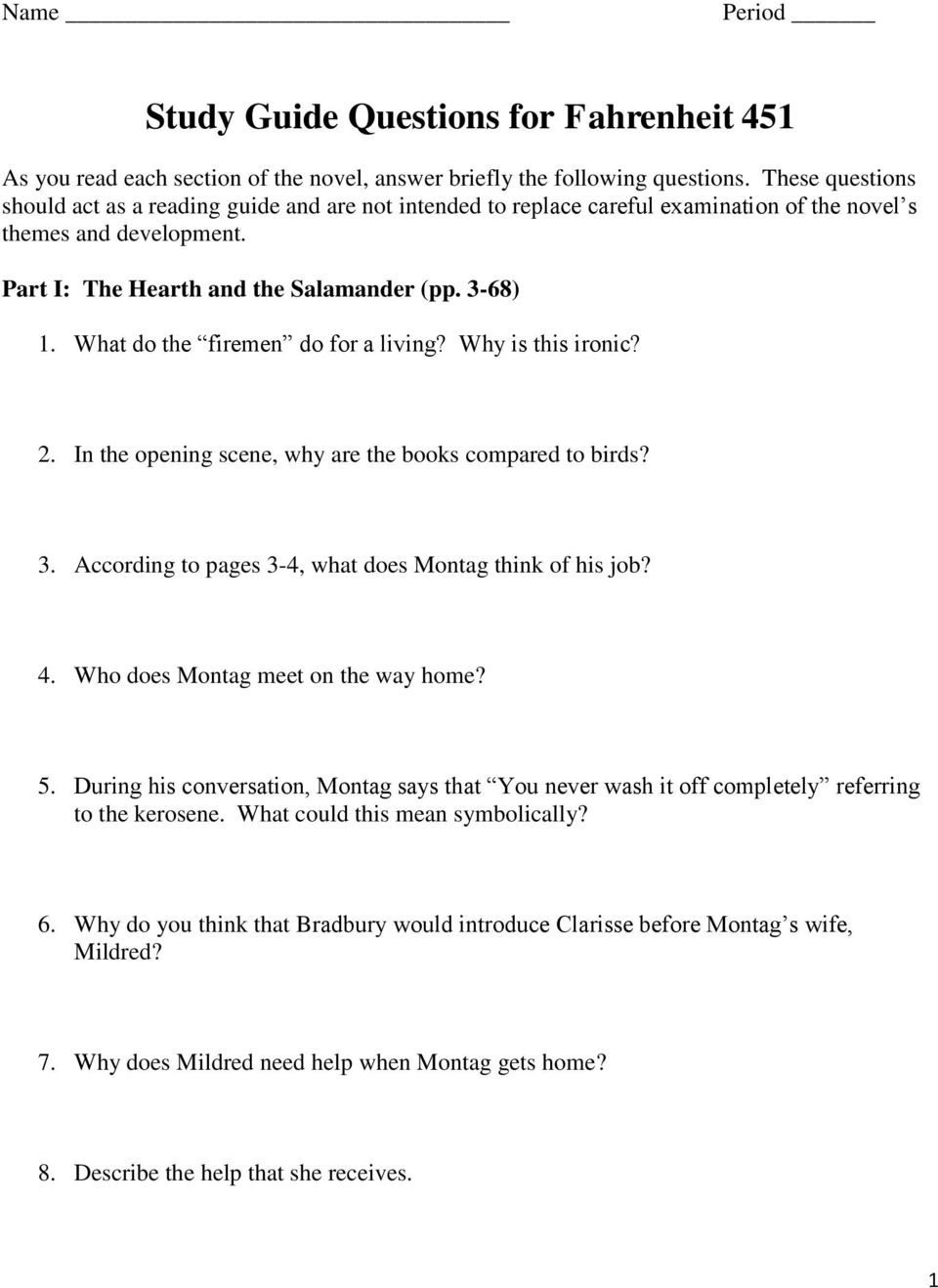 study guide questions for fahrenheit pdf what do the firemen do for a living why is this ironic 2