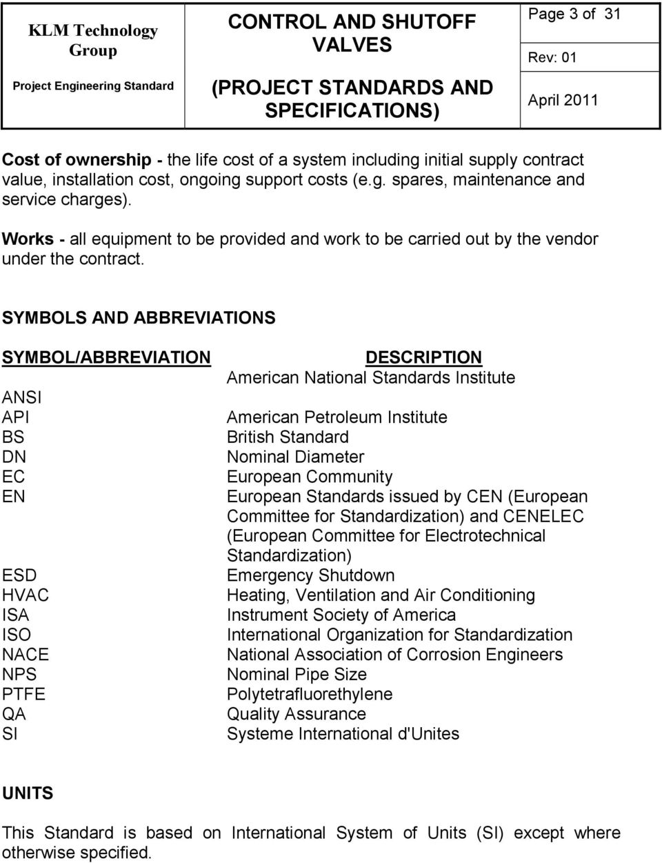 SYMBOLS AND ABBREVIATIONS SYMBOL/ABBREVIATION ANSI API BS DN EC EN ESD HVAC ISA ISO NACE NPS PTFE QA SI DESCRIPTION American National Standards Institute American Petroleum Institute British Standard