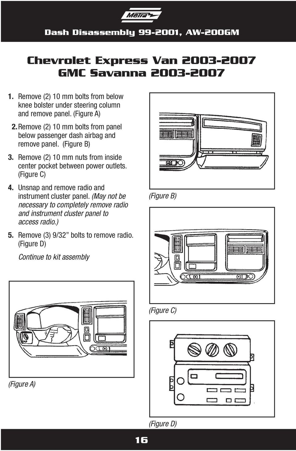 Remove (2) 10 mm nuts from inside center pocket between power outlets. (Figure C) 4. Unsnap and remove radio and instrument cluster panel.