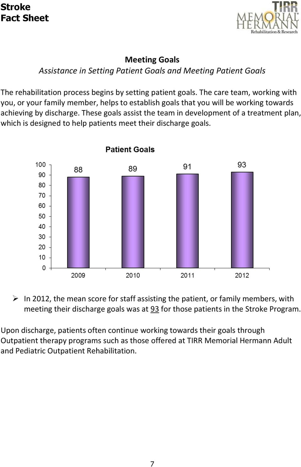 These goals assist the team in development of a treatment plan, which is designed to help patients meet their discharge goals.