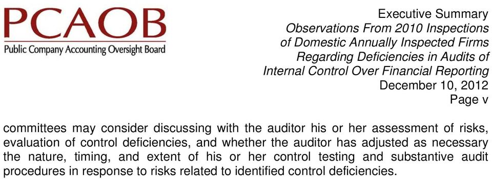 risks, evaluation of control deficiencies, and whether the auditor has adjusted as necessary the nature, timing, and extent