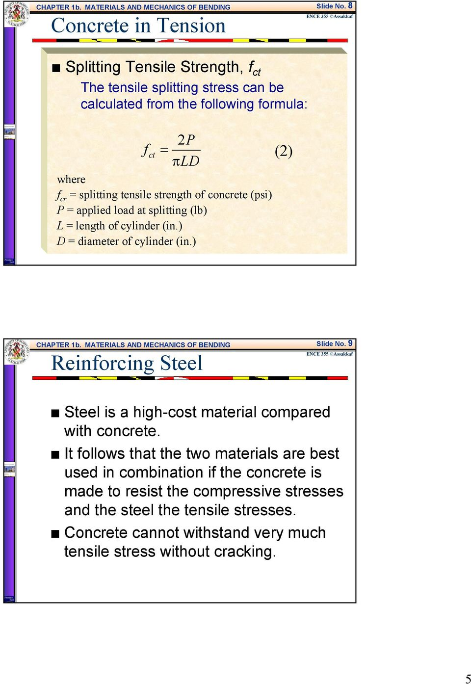 strength of concrete (psi) P applied load at splitting (lb) L length of cylinder (in.) D diameter of cylinder (in.