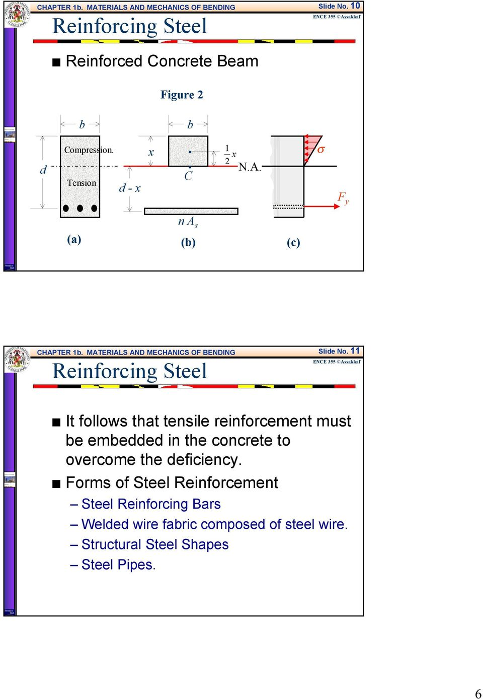 It follows that tensile reinforcement must be embedded in the concrete to overcome the deficiency.