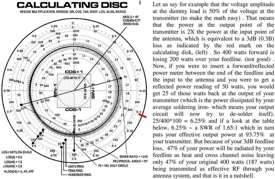 3B) loss as indicated by the red mark on the calculating disk, (left). So 400 watts forward is losing 200 watts over your feedline. (not good).