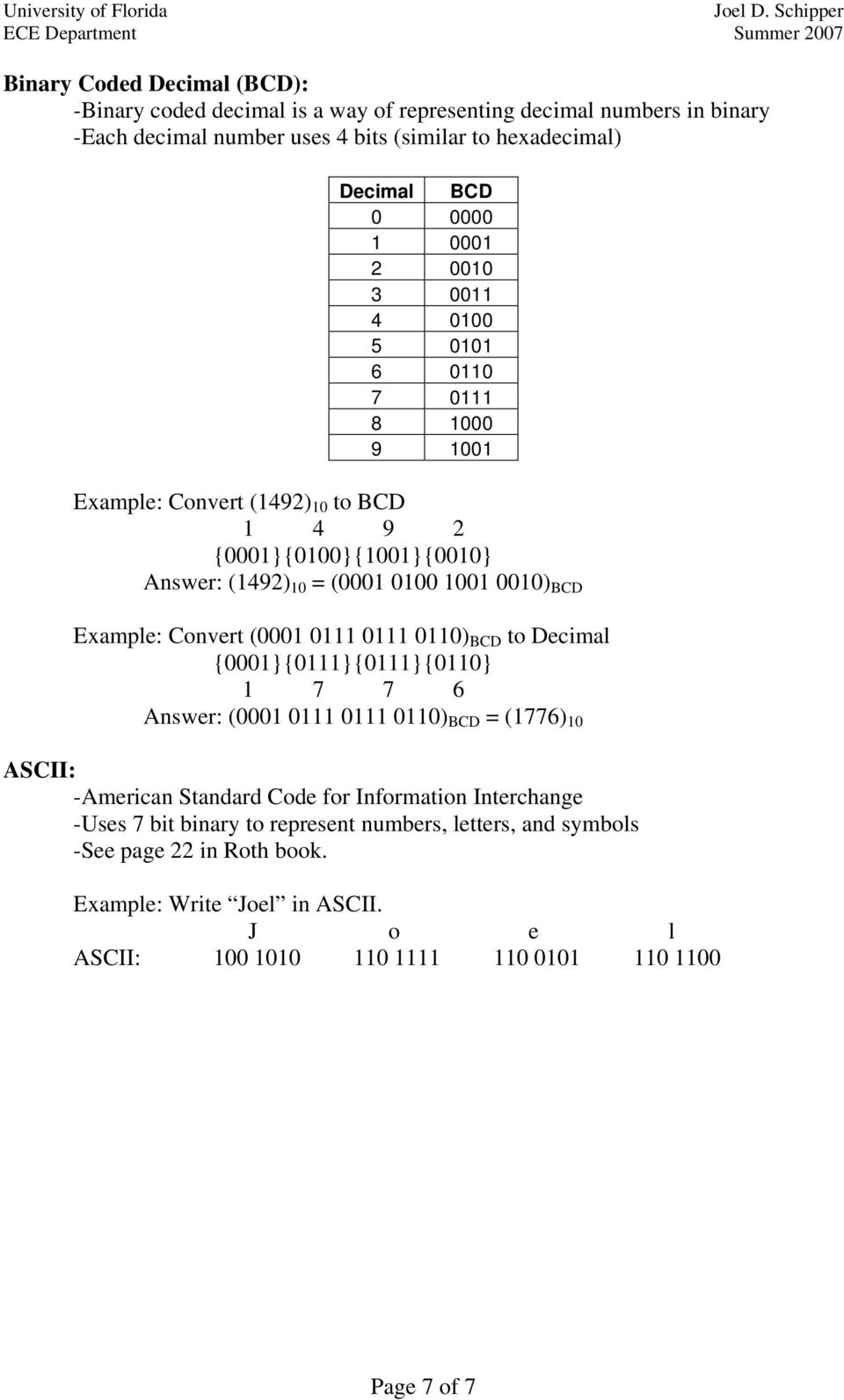 ) BCD Example: Convert ( ) BCD to Decimal {} {} {} {} 6 Answer: ( ) BCD = (6) ASCII: -American Standard Code for Information