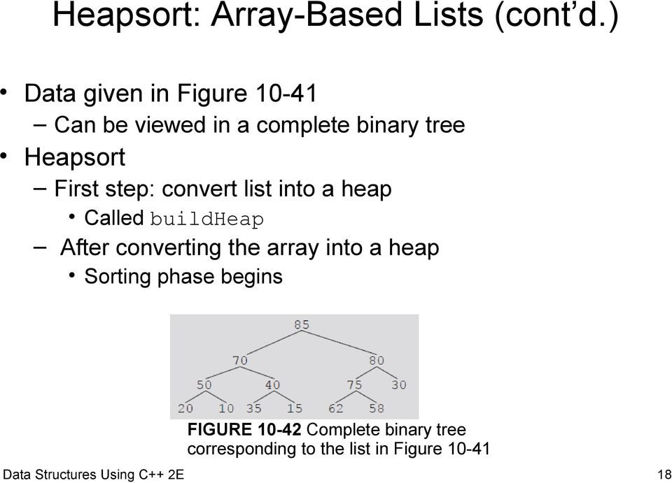 step: convert list into a heap Called buildheap After converting the array into a
