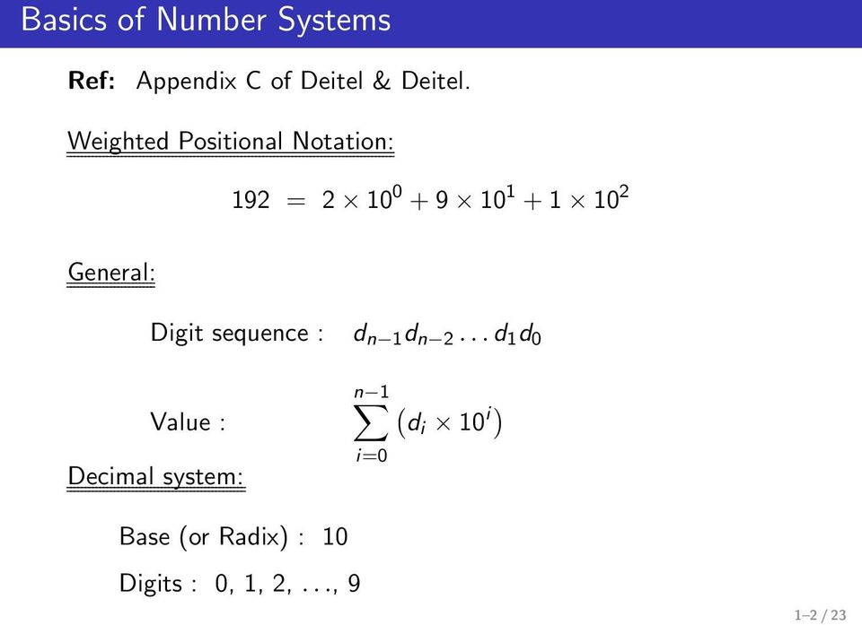 General: Digit sequence : d n 1 d n 2.