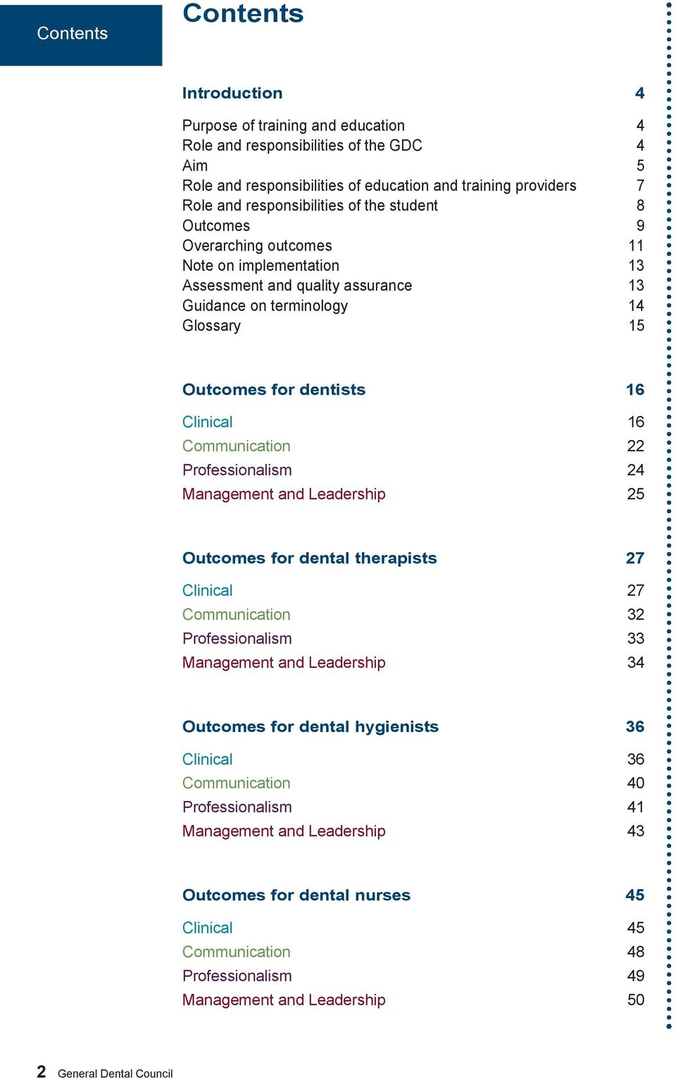 Outcomes for dentists 16 16 Communication 22 Professionalism 24 Management and Leadership 25 Outcomes for 27 27 Communication 32 Professionalism 33 Management and Leadership 34