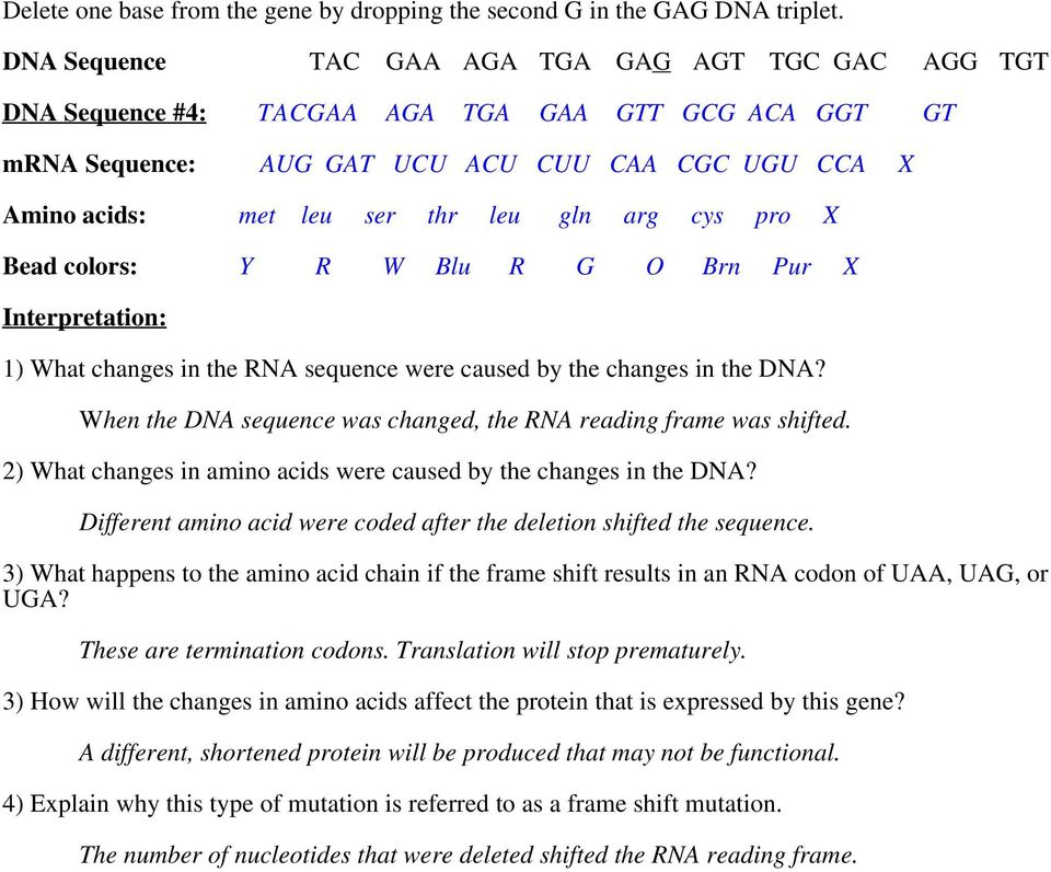 arg cys pro X Bead colors: Y R W Blu R G O Brn Pur X 1) What changes in the RNA sequence were caused by the changes in the DNA? When the DNA sequence was changed, the RNA reading frame was shifted.