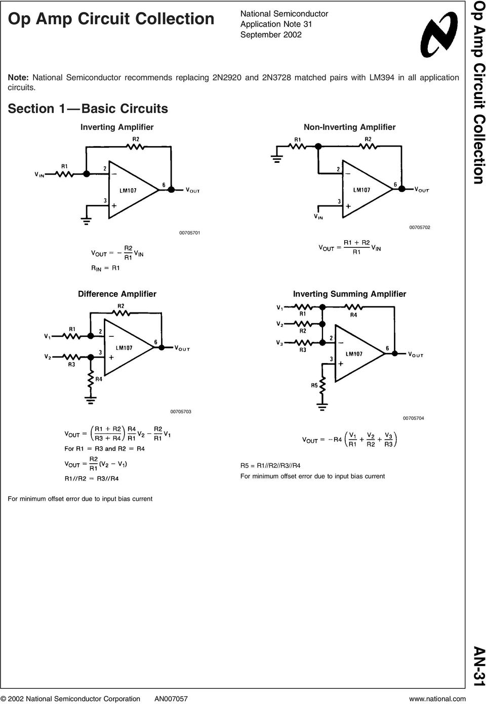 Section 1 Basic Circuits Inverting Amplifier Difference Amplifier For minimum offset error due to input bias current 00705701 00705703 National
