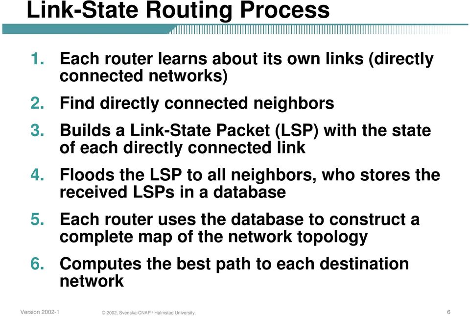 Builds a Link-State Packet (LSP) with the state of each directly connected link 4.