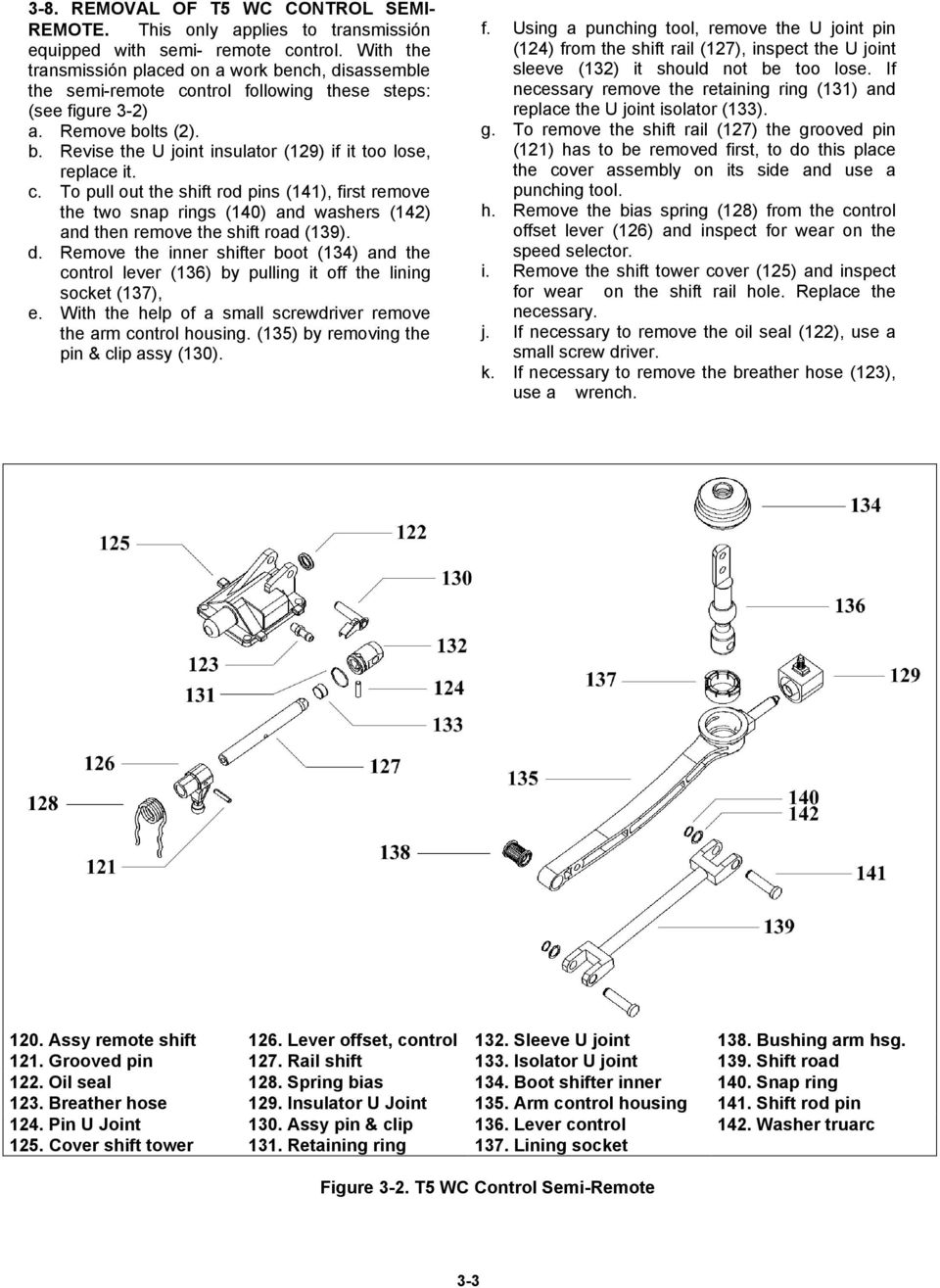 c. To pull out the shift rod pins (4), first remove the two snap rings (40) and washers (42) and then remove the shift road (39). d.