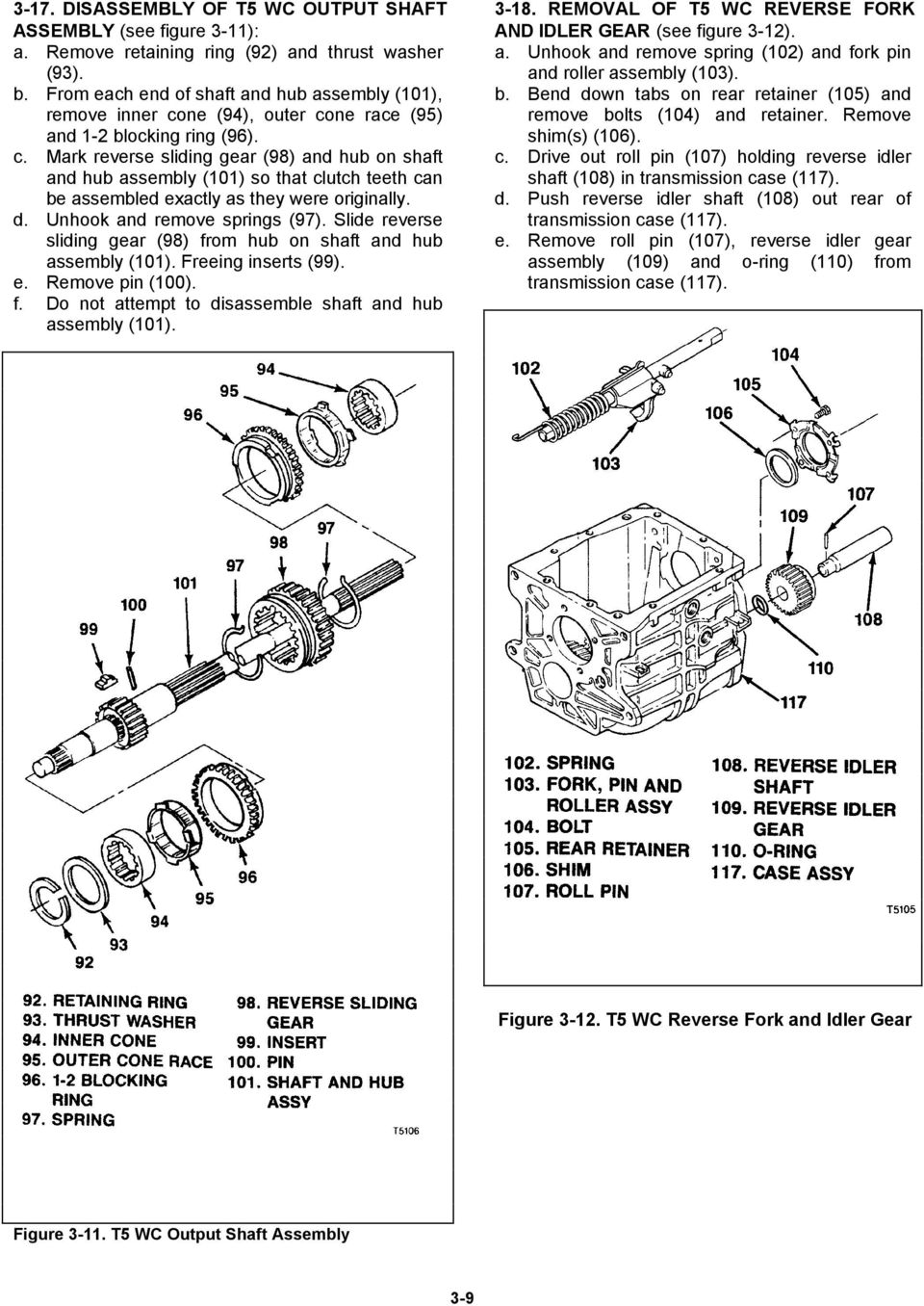 d. Unhook and remove springs (97). Slide reverse sliding gear (98) from hub on shaft and hub assembly (0). Freeing inserts (99). e. Remove pin (00). f. Do not attempt to disassemble shaft and hub assembly (0).