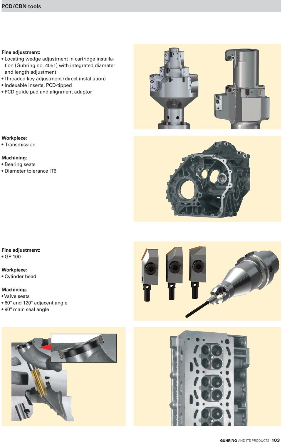 PCD-tipped PCD guide pad and alignment adaptor Workpiece: Transmission Machining: Bearing seats Diameter tolerance IT6