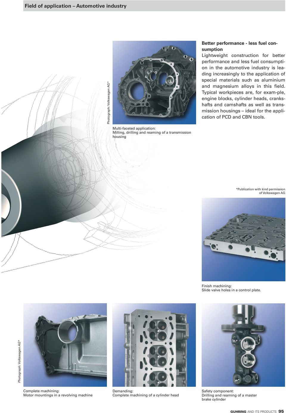 Typical workpieces are, for exam-ple, engine blocks, cylinder heads, crankshafts and camshafts as well as transmission housings ideal for the application of PCD and CBN tools.