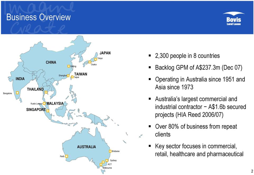 3m (Dec 07) Operating in Australia since 1951 and Asia since 1973 Australia s largest commercial and industrial contractor A$1.
