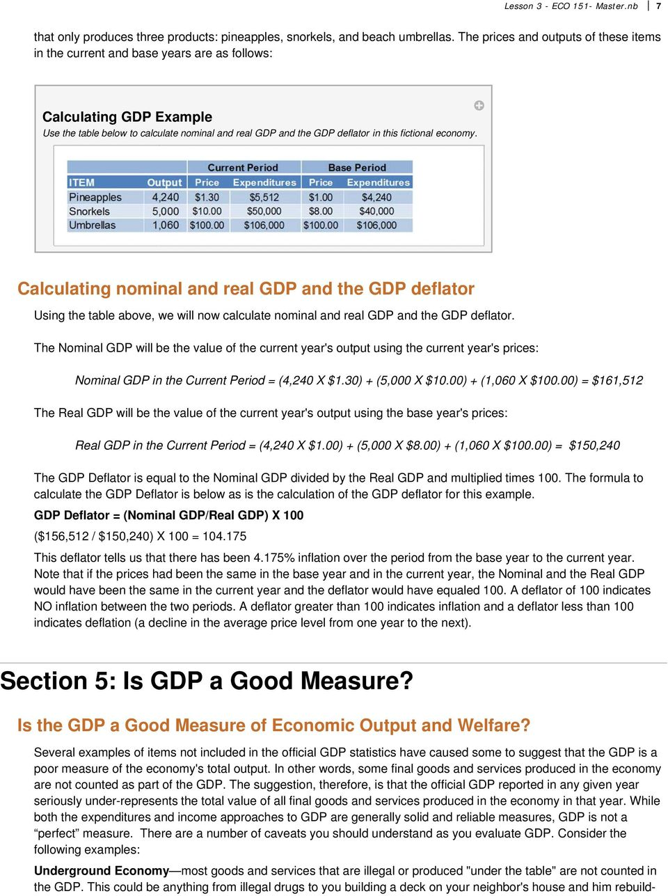 fictional economy. Calculating nominal and real GDP and the GDP deflator Using the table above, we will now calculate nominal and real GDP and the GDP deflator.