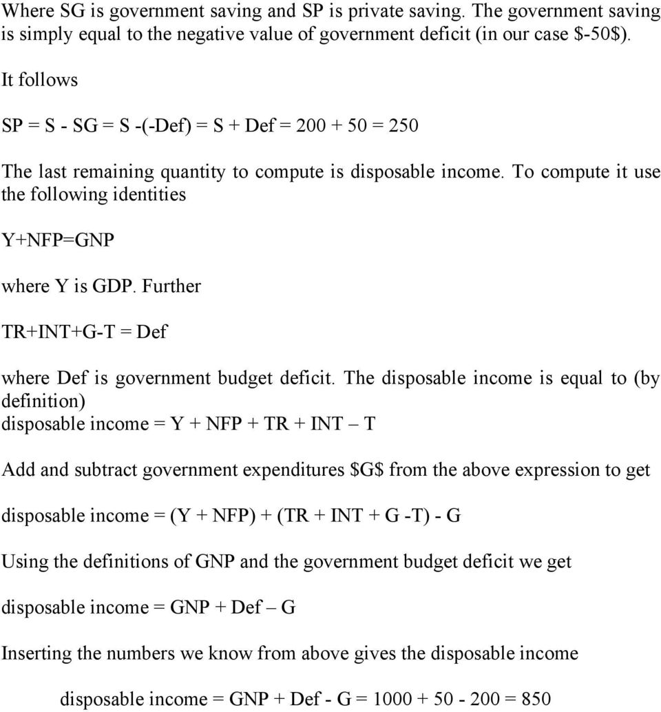 Further TR+INT+G-T = Def where Def is government budget deficit.