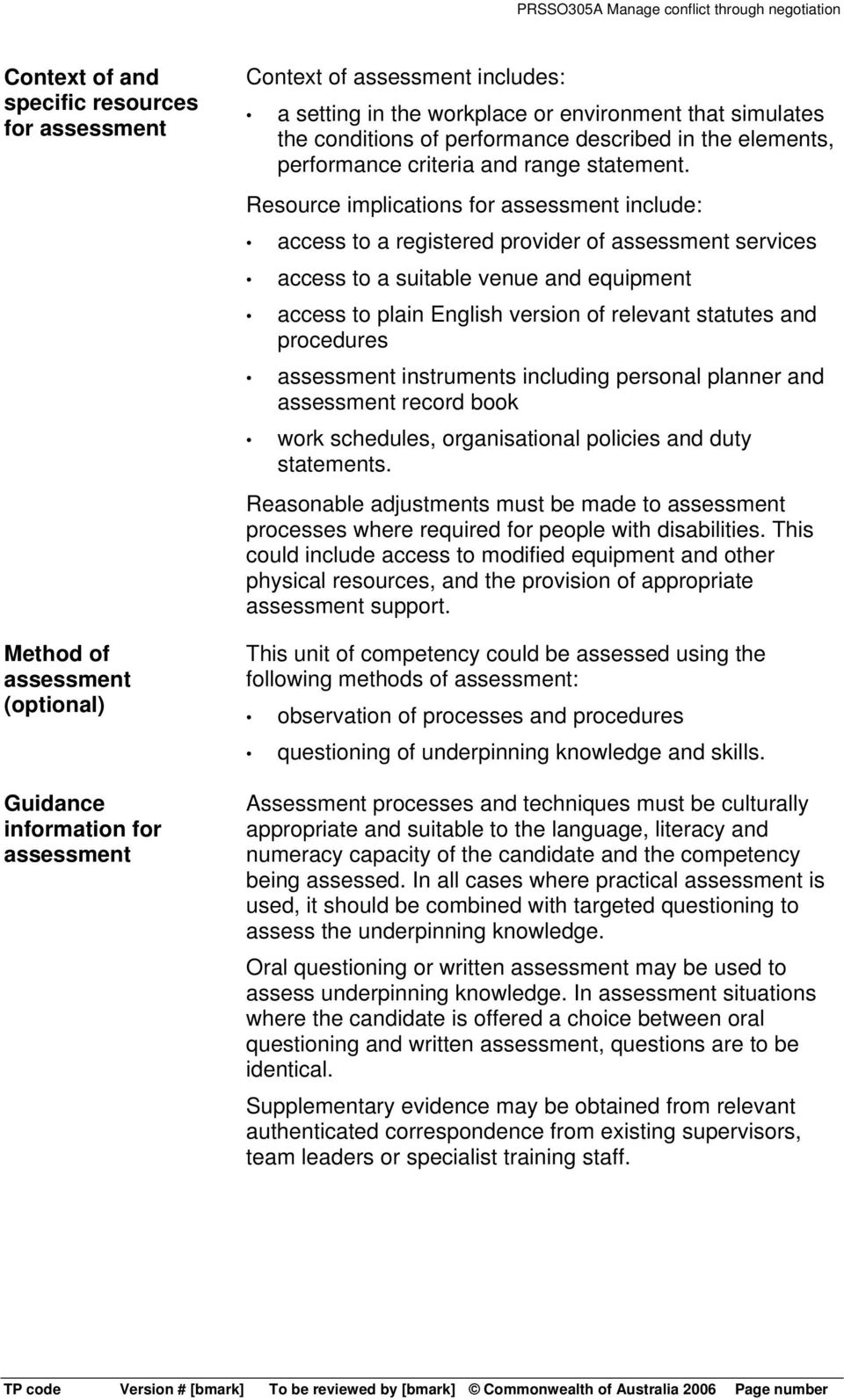 Resource implications for assessment include: access to a registered provider of assessment services access to a suitable venue and equipment access to plain English version of relevant statutes and