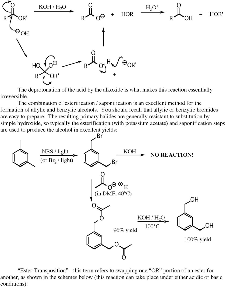The resulting primary halides are generally resistant to substitution by simple hydroxide, so typically the esterification (with potassium acetate) and saponification steps are used to produce the