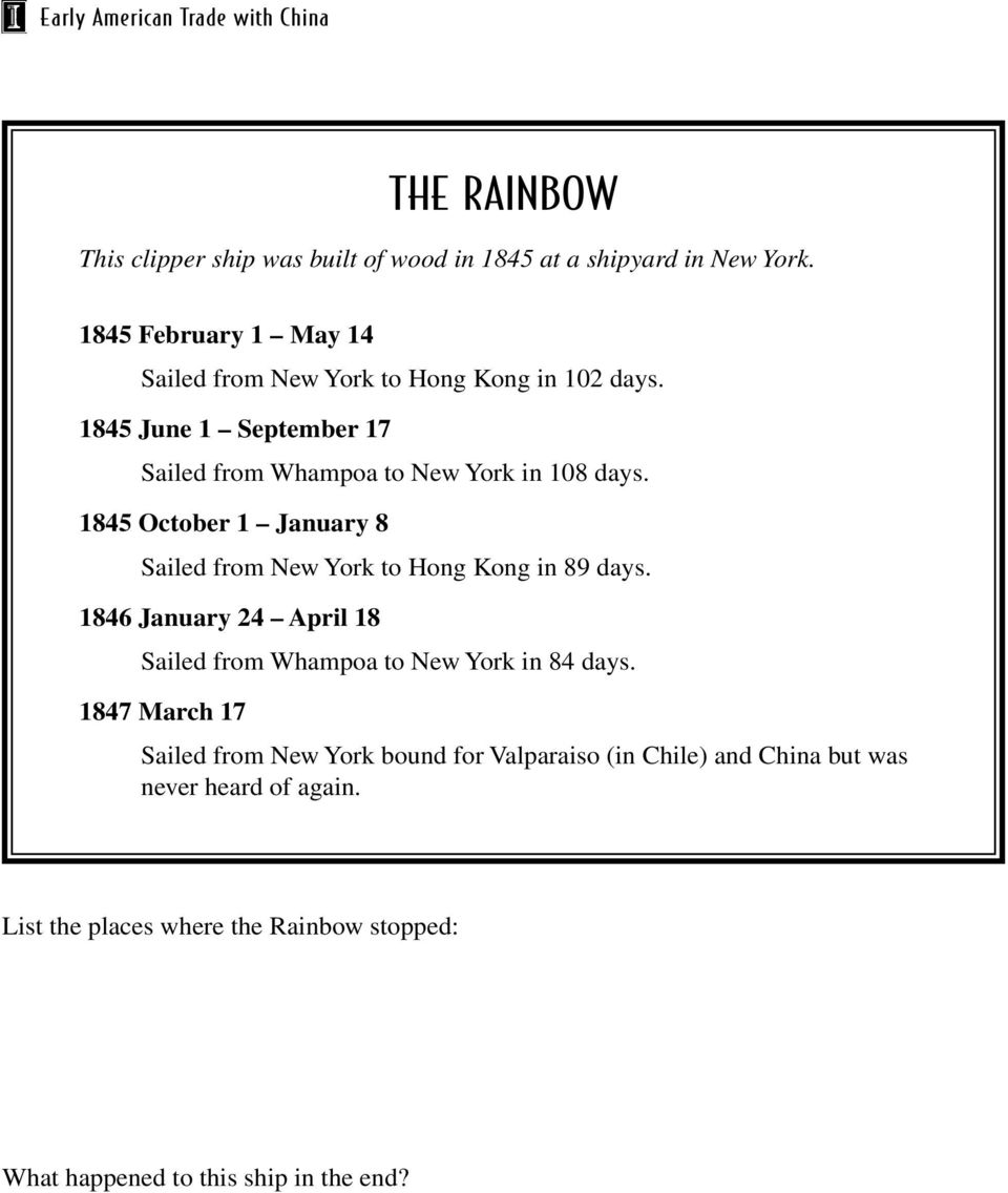 1845 June 1 September 17 Sailed from Whampoa to New York in 108 days.